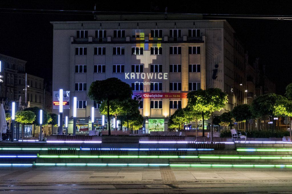 Katowice atrakcje: rynek nocą